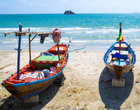Two boats. On the sea stock photography
