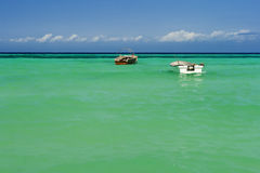 Two boats on sea. Indian ocean with two boats and blue sky Stock Photo