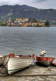 Two boats on the shore of lake Orta Royalty Free Stock Photo