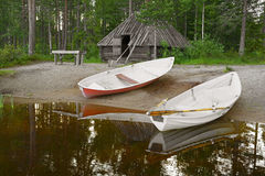 Two boats on the shore. Royalty Free Stock Photos