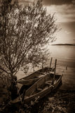 Two boats on Trasimeno lake Stock Images