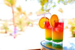 Two bocals of colorful cocktail Stock Image