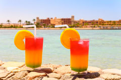 Two bocals of colorful cocktail Royalty Free Stock Photos