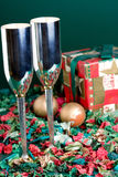 Two bocals and holiday gift Stock Photography