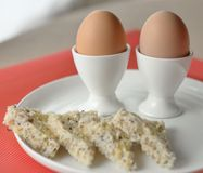 Two Boiled Eggs With Wholegrain Bread. Stock Photo