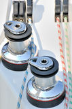 Two bollard on yacht. Bollards of yacht and rope under sun light, shown as marine activity, holiday or entertainment Royalty Free Stock Photos