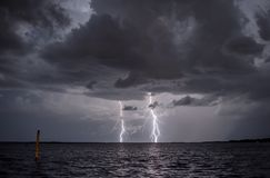 Two bolts of lightning. Royalty Free Stock Photo