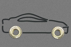 Two Bolts making a Car Drawing concept on gray background.  royalty free stock photos