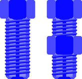Two bolts from side view Royalty Free Stock Images