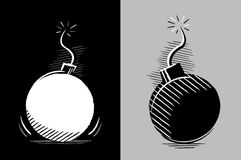 Two bombs ready to explode. Simple drawing of two bombs in chiaroscuro without color Stock Photography