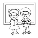 Two bookish children coloring page. Hand drawn bookish children coloring page for kids Stock Photography