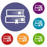 Two books icons set. In flat circle reb, blue and green color for web Stock Photo