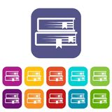 Two books icons set. Vector illustration in flat style in colors red, blue, green, and other Royalty Free Stock Images