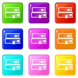 Two books set 9. Two books icons of 9 color set isolated vector illustration Royalty Free Stock Photos