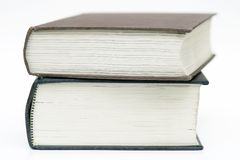 Two Books Stacked. On a white background Royalty Free Stock Photography