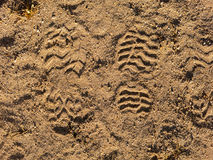 Two boots footsteps on sand. In Brazil Royalty Free Stock Photography