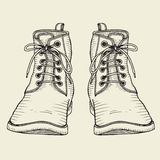 Two boots, laced Royalty Free Stock Photography