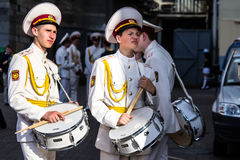 Two bored cadets with drums Stock Photos