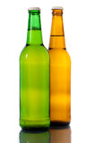 Two bottle of beer. Isolated on white background Stock Photos