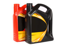 Two bottle of engine oil. With white background Stock Photo