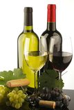 Two bottle of red and white wine Royalty Free Stock Photos