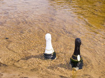 Two bottles. With a wine are cooled in water of the river Royalty Free Stock Photography