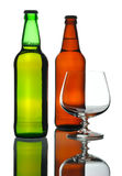 Two bottles of beer and glass, isolated Royalty Free Stock Photo