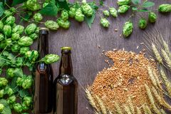 Two bottles of beer with wheat and hops as brewing ingredients in top view and copy space area. Flat lay. Still life Royalty Free Stock Photo