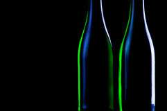 Two bottles on a black background Royalty Free Stock Photo