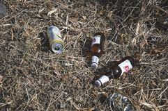 Two bottles and can of beer discharded into grass royalty free stock image