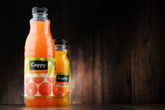 Two bottles of Cappy fruit juices Royalty Free Stock Photo
