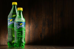 Two bottles of carbonated soft drink Sprite. Royalty Free Stock Photo