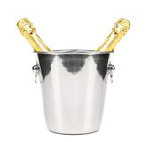 Two bottles of champagne in cooler. Royalty Free Stock Photo