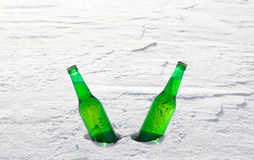 Two bottles of cold beer on the snow at sunset. Stock Images