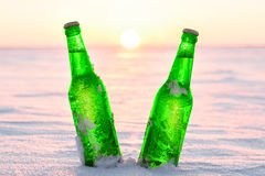 Two bottles of cold beer on the snow at sunset Stock Photos