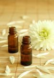 Two bottles of essence oil and chrysanthemum. Royalty Free Stock Photo
