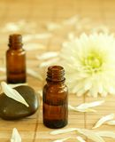 Two bottles of essence oil and chrysanthemum. Royalty Free Stock Photography
