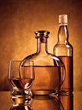 Two bottles and a glass Royalty Free Stock Photo
