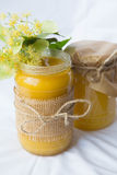 Two bottles of homemade linden honey Royalty Free Stock Photo