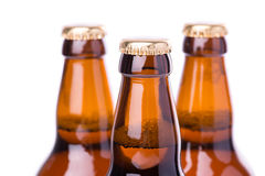 Two bottles of ice cold beer isolated on white Royalty Free Stock Photo