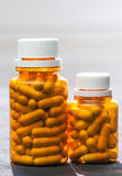 Two  bottles of medicine pills Stock Images