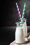 Two bottles with milk royalty free stock photography