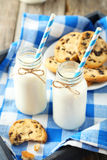 Two bottles of milk with striped straws and plate of cookies on the grey wooden background Stock Images