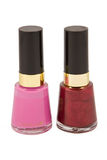 Two bottles of nail varnish Royalty Free Stock Photography