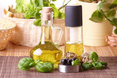Two bottles with olive oil and grape seed oil Royalty Free Stock Photo