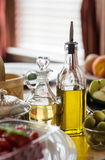 Two Bottles of Olive Oil Royalty Free Stock Images