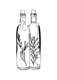 Two bottles of olive oil on white background Stock Images