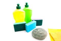 Two bottles, rags and sponges Royalty Free Stock Image
