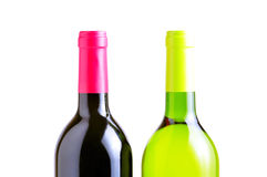 Two bottles of red and white whine Royalty Free Stock Photo