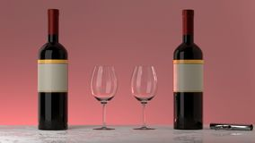 Bottles of red wine, glasses, pink background. Two bottles of red wine with an elegant blank empty label to put your own logo,  two glasses and a twist and pull Royalty Free Stock Photos
